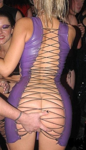 open back fetish dress